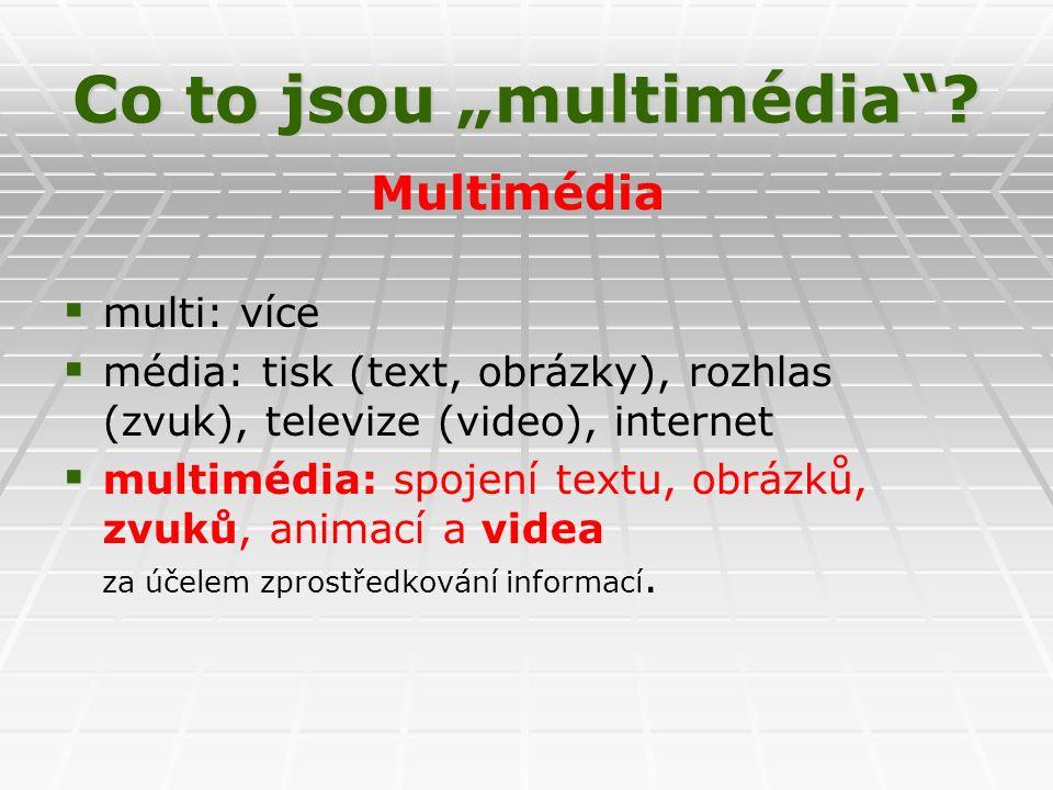 """Co to jsou """"multimédia ."""