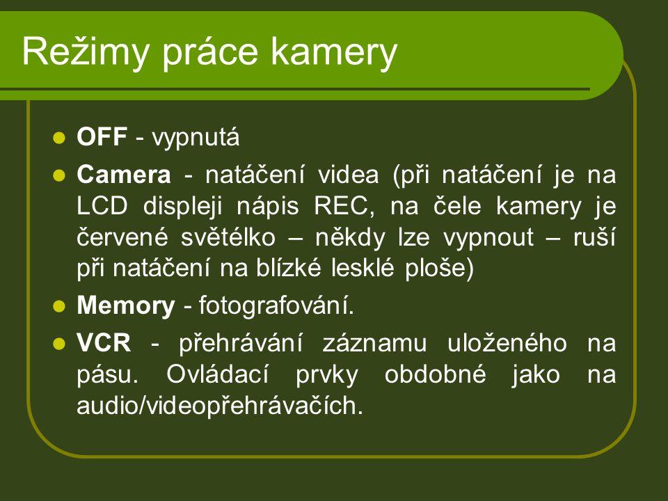 Režimy práce kamery OFF - vypnutá Camera - natáčení videa (při natáčení je na LCD displeji nápis REC, na čele kamery je červené světélko – někdy lze vypnout – ruší při natáčení na blízké lesklé ploše) Memory - fotografování.