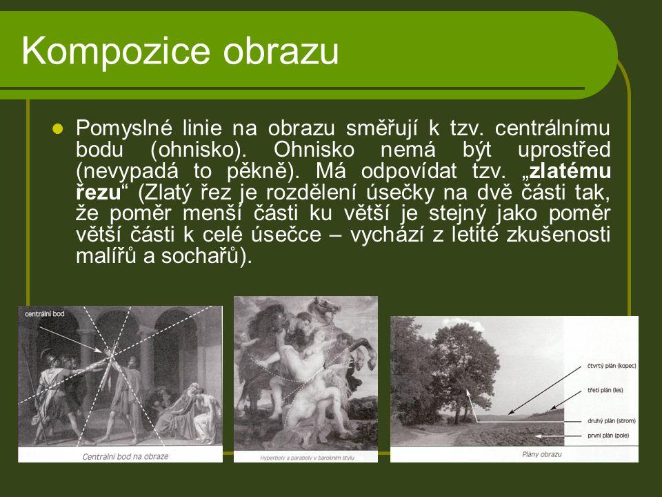 Kompozice obrazu Pomyslné linie na obrazu směřují k tzv.