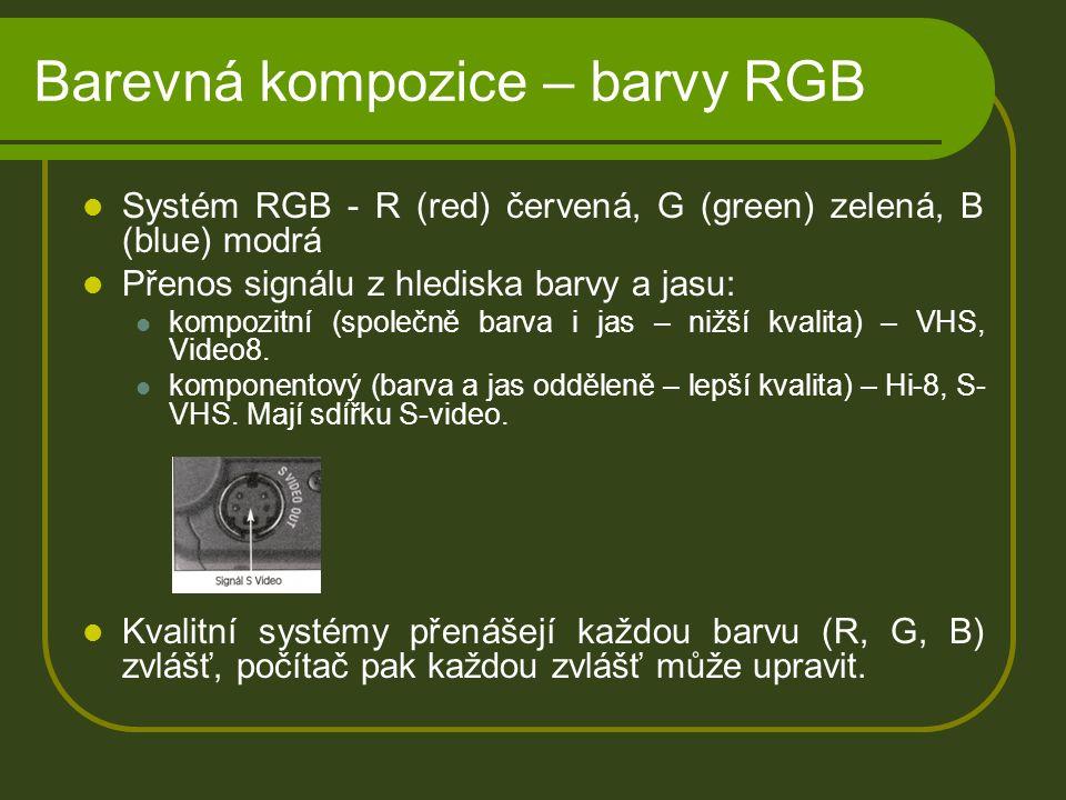Barevná kompozice – barvy RGB Systém RGB - R (red) červená, G (green) zelená, B (blue) modrá Přenos signálu z hlediska barvy a jasu: kompozitní (společně barva i jas – nižší kvalita) – VHS, Video8.