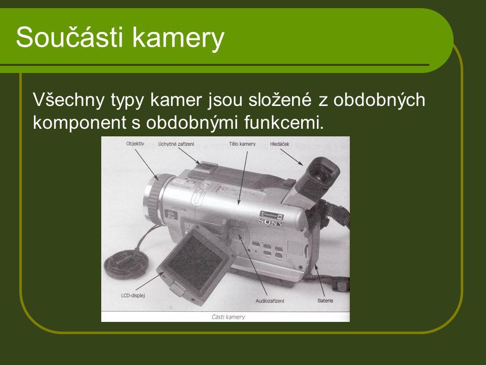 Součásti kamery Všechny typy kamer jsou složené z obdobných komponent s obdobnými funkcemi.