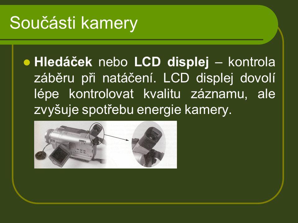 Součásti kamery Hledáček nebo LCD displej – kontrola záběru při natáčení.