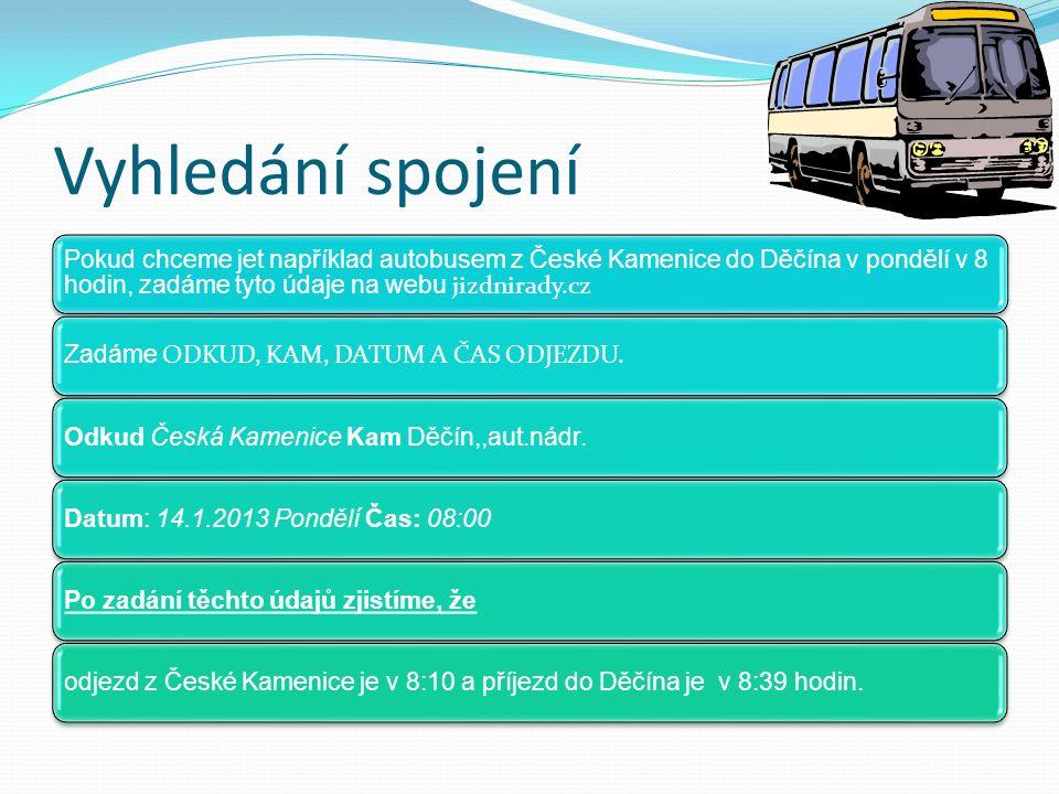Vyhledání spojení Pokud chceme jet například autobusem z České Kamenice do Děčína v pondělí v 8 hodin, zadáme tyto údaje na webu jizdnirady.cz Zadáme ODKUD, KAM, DATUM A ČAS ODJEZDU.