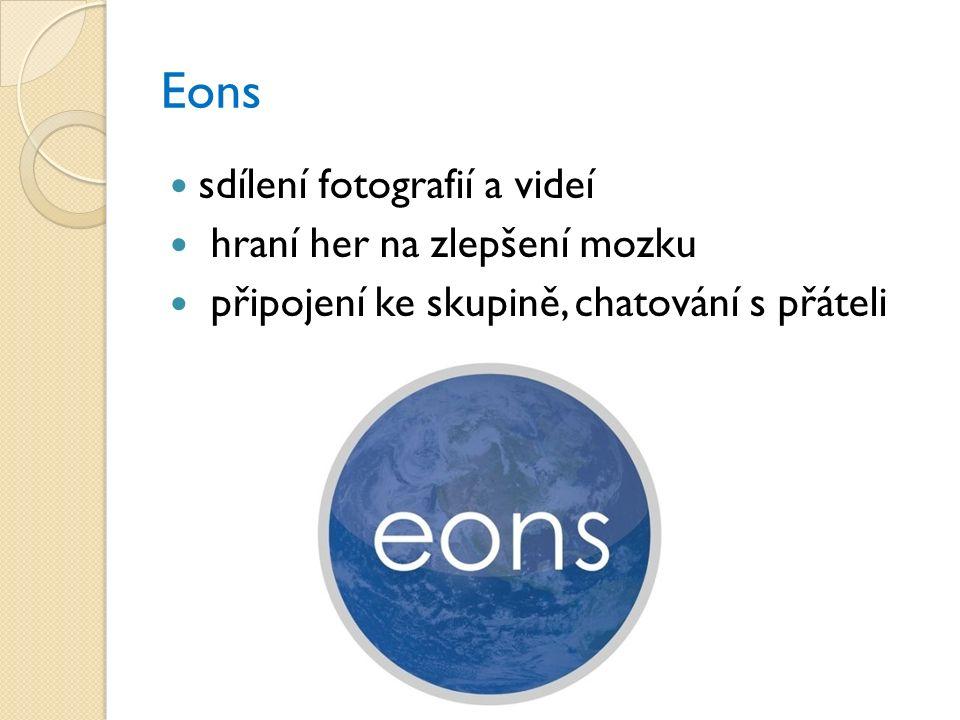 Eons sdílení fotografií a videí hraní her na zlepšení mozku připojení ke skupině, chatování s přáteli