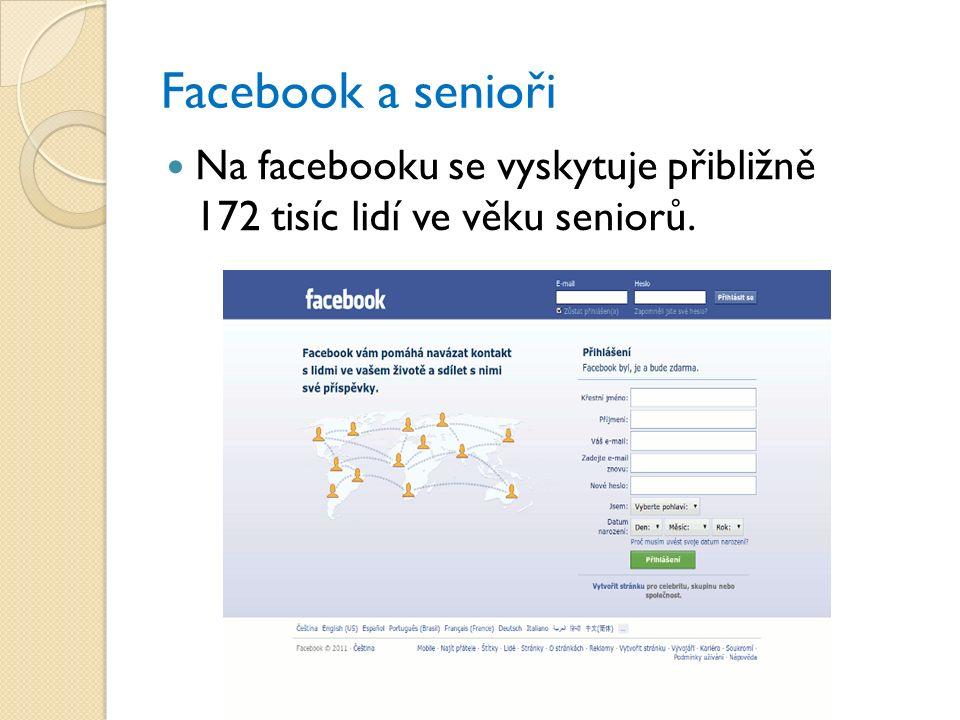 Facebook a senioři Na facebooku se vyskytuje přibližně 172 tisíc lidí ve věku seniorů.