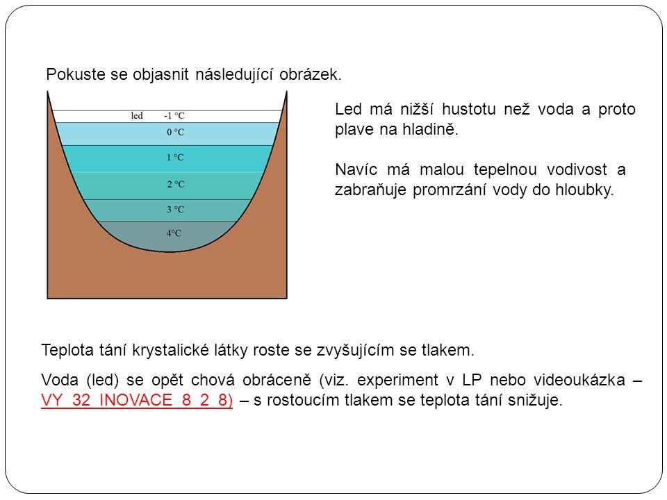 Led má nižší hustotu než voda a proto plave na hladině. Navíc má malou tepelnou vodivost a zabraňuje promrzání vody do hloubky. Pokuste se objasnit ná