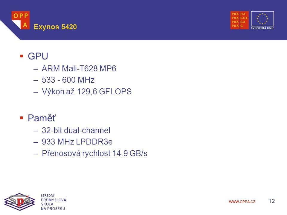 WWW.OPPA.CZ Exynos 5420  GPU –ARM Mali-T628 MP6 –533 - 600 MHz –Výkon až 129,6 GFLOPS  Paměť –32-bit dual-channel –933 MHz LPDDR3e –Přenosová rychlost 14.9 GB/s 12 STŘEDNÍ PRŮMYSLOVÁ ŠKOLA NA PROSEKU