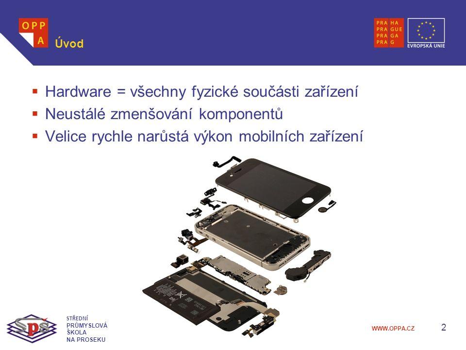 WWW.OPPA.CZ Úvod  Hardware = všechny fyzické součásti zařízení  Neustálé zmenšování komponentů  Velice rychle narůstá výkon mobilních zařízení 2 STŘEDNÍ PRŮMYSLOVÁ ŠKOLA NA PROSEKU