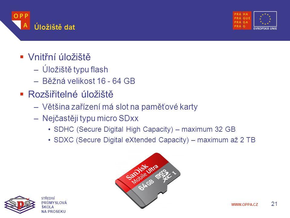 WWW.OPPA.CZ Úložiště dat  Vnitřní úložiště –Úložiště typu flash –Běžná velikost 16 - 64 GB  Rozšiřitelné úložiště –Většina zařízení má slot na paměťové karty –Nejčastěji typu micro SDxx SDHC (Secure Digital High Capacity) – maximum 32 GB SDXC (Secure Digital eXtended Capacity) – maximum až 2 TB 21 STŘEDNÍ PRŮMYSLOVÁ ŠKOLA NA PROSEKU