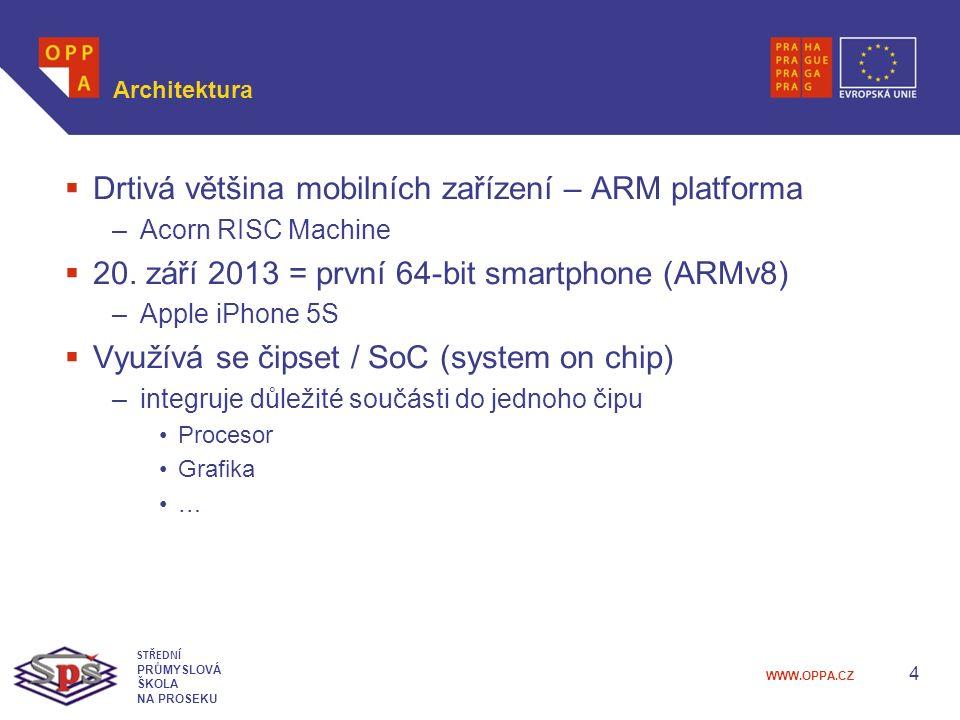 WWW.OPPA.CZ Architektura  Drtivá většina mobilních zařízení – ARM platforma –Acorn RISC Machine  20.