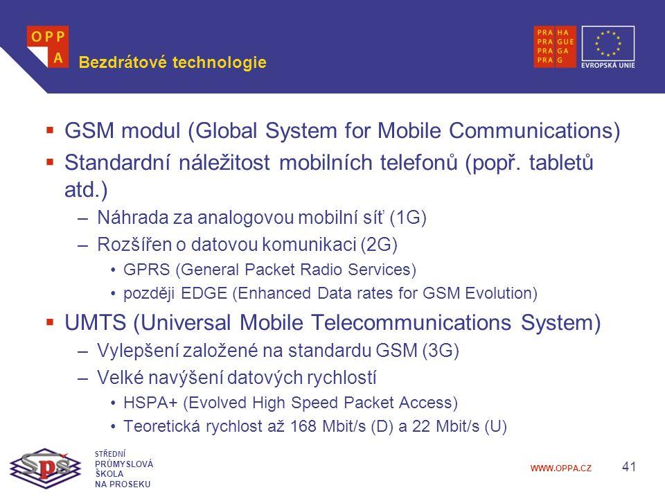 WWW.OPPA.CZ Bezdrátové technologie  GSM modul (Global System for Mobile Communications)  Standardní náležitost mobilních telefonů (popř.