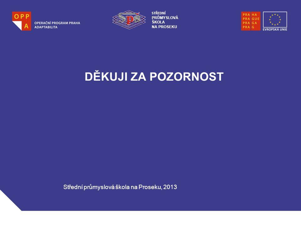 DĚKUJI ZA POZORNOST Střední průmyslová škola na Proseku, 2013 STŘEDNÍ PRŮMYSLOVÁ ŠKOLA NA PROSEKU