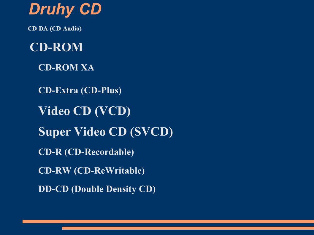 Druhy CD CD-DA (CD-Audio) CD-ROM CD-ROM XA CD-Extra (CD-Plus) Video CD (VCD) Super Video CD (SVCD) CD-R (CD-Recordable) CD-RW (CD-ReWritable) DD-CD (Double Density CD)