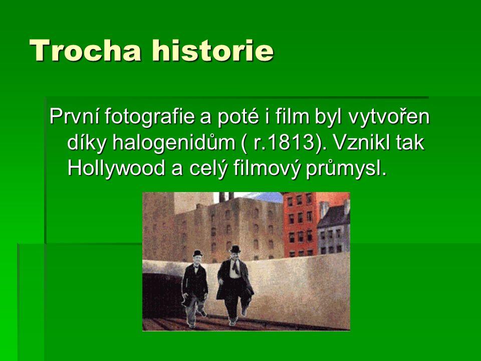 Trocha historie První fotografie a poté i film byl vytvořen díky halogenidům ( r.1813).