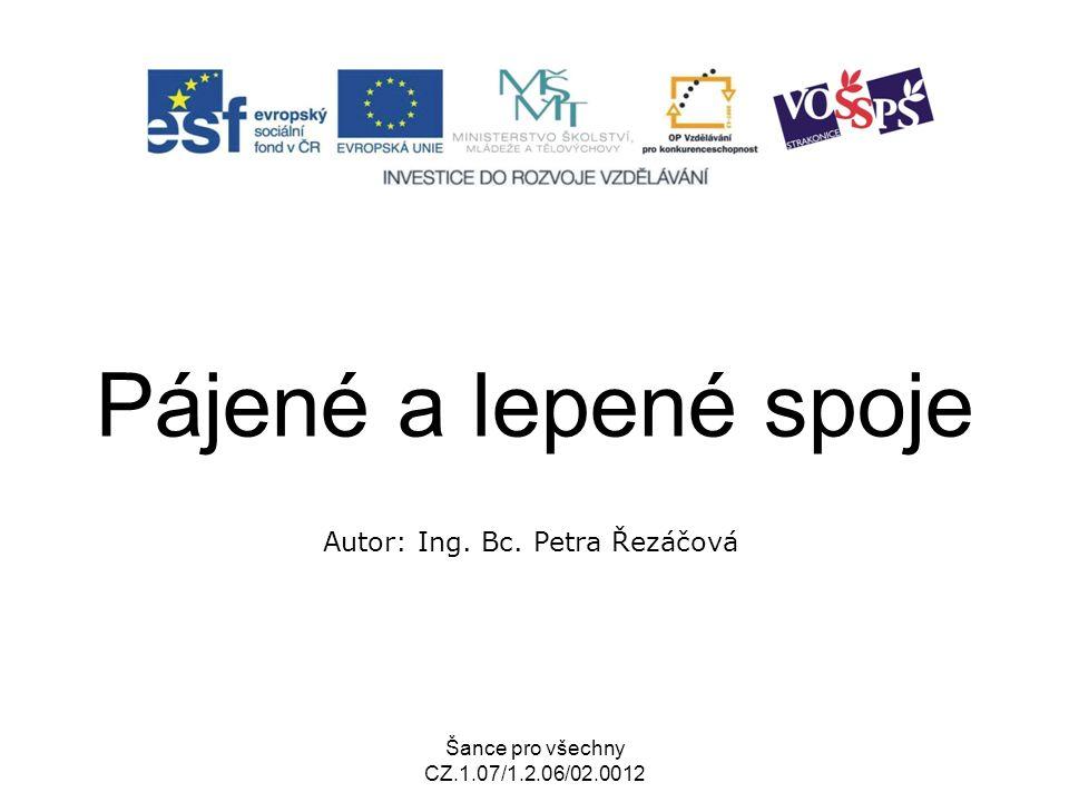 Šance pro všechny CZ.1.07/1.2.06/02.0012 Pájené a lepené spoje Autor: Ing. Bc. Petra Řezáčová