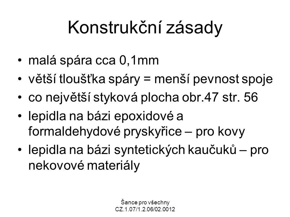 Šance pro všechny CZ.1.07/1.2.06/02.0012 Konstrukční zásady malá spára cca 0,1mm větší tloušťka spáry = menší pevnost spoje co největší styková plocha obr.47 str.