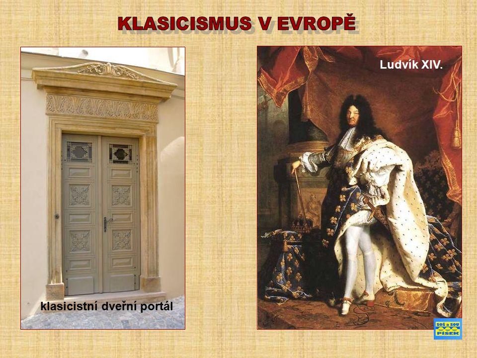 klasicistní dveřní portál Ludvík XIV.