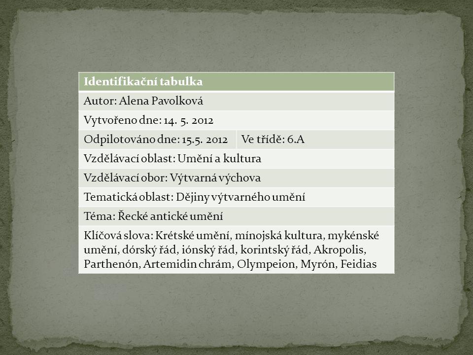 Identifikační tabulka Autor: Alena Pavolková Vytvořeno dne: 14.