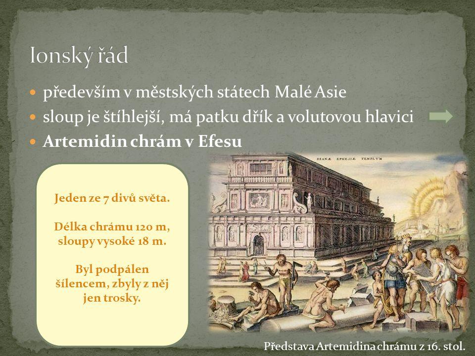 především v městských státech Malé Asie sloup je štíhlejší, má patku dřík a volutovou hlavici Artemidin chrám v Efesu Představa Artemidina chrámu z 16.