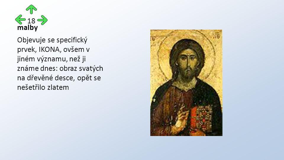 malby Objevuje se specifický prvek, IKONA, ovšem v jiném významu, než ji známe dnes: obraz svatých na dřevěné desce, opět se nešetřilo zlatem 18
