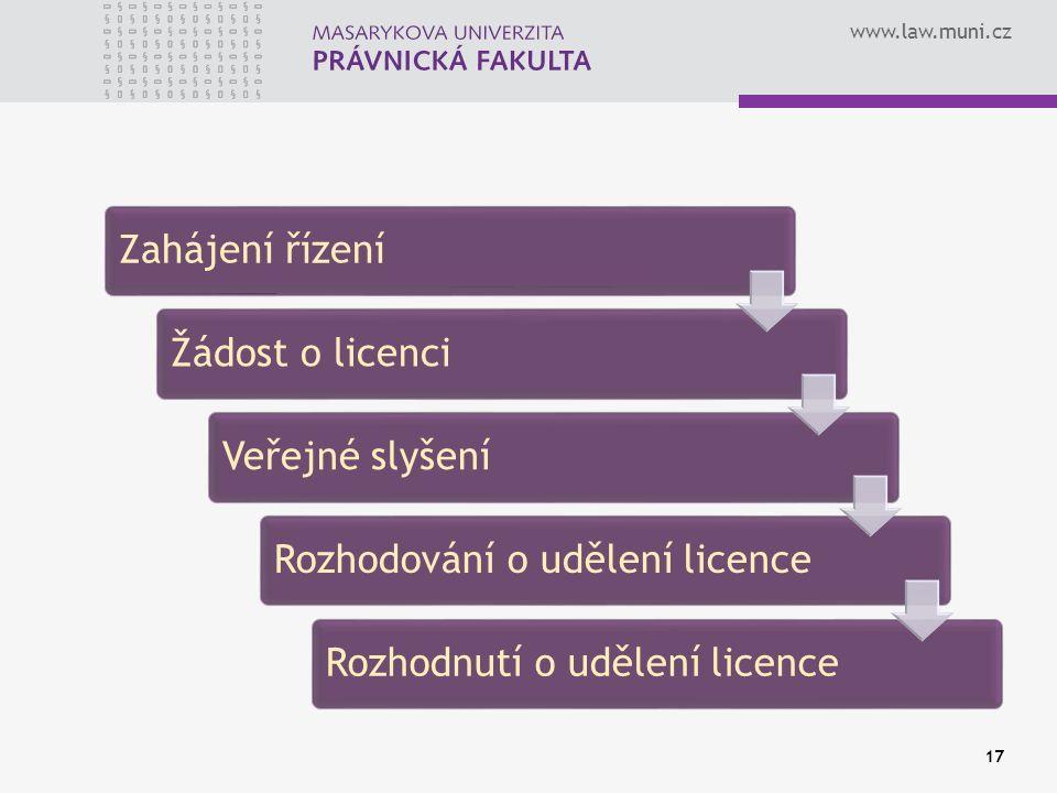 www.law.muni.cz Zahájení řízeníŽádost o licenciVeřejné slyšeníRozhodování o udělení licenceRozhodnutí o udělení licence 17
