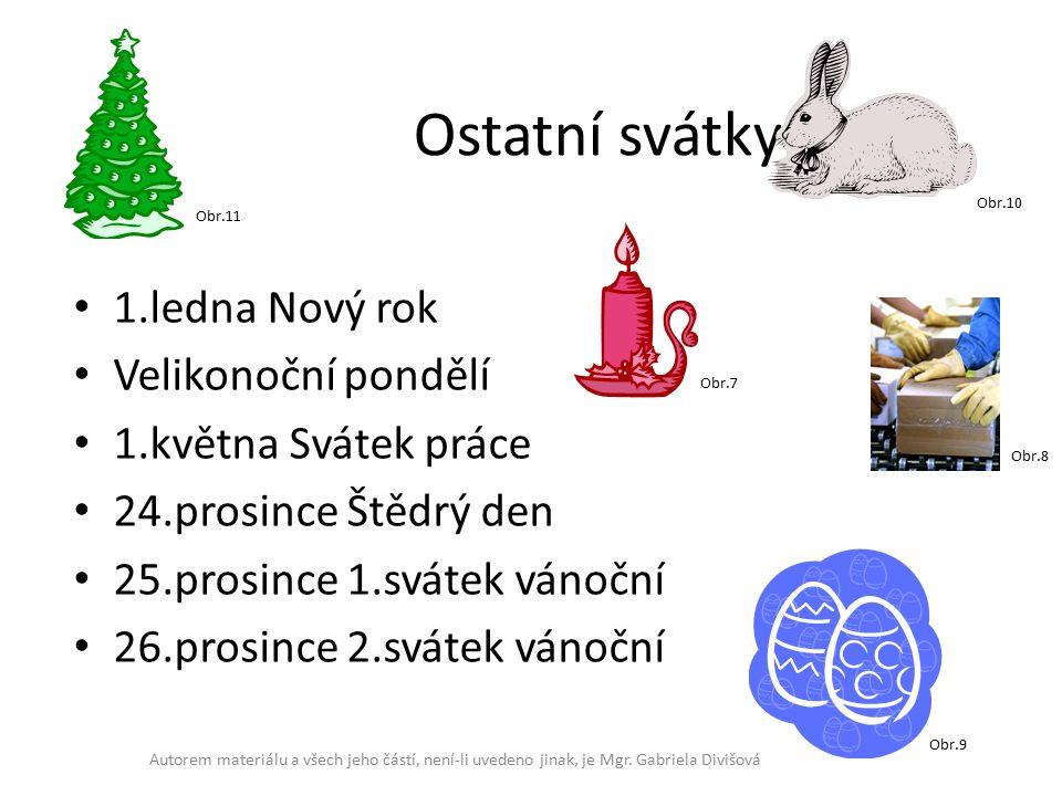 Ostatní svátky 1.ledna Nový rok Velikonoční pondělí 1.května Svátek práce 24.prosince Štědrý den 25.prosince 1.svátek vánoční 26.prosince 2.svátek vánoční Autorem materiálu a všech jeho částí, není-li uvedeno jinak, je Mgr.