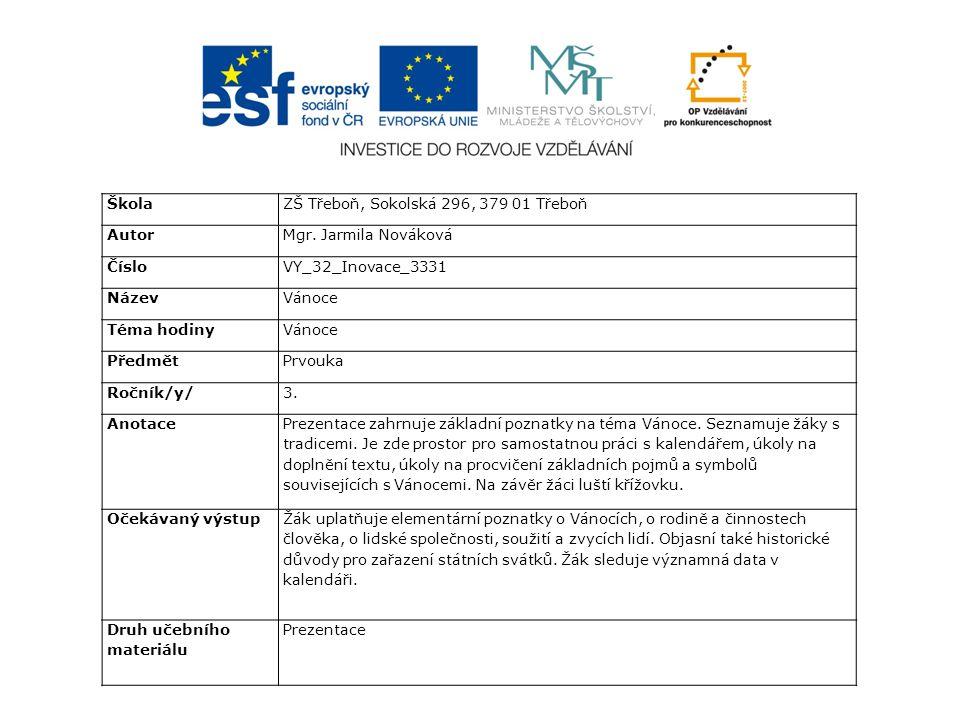 ŠkolaZŠ Třeboň, Sokolská 296, 379 01 Třeboň AutorMgr.