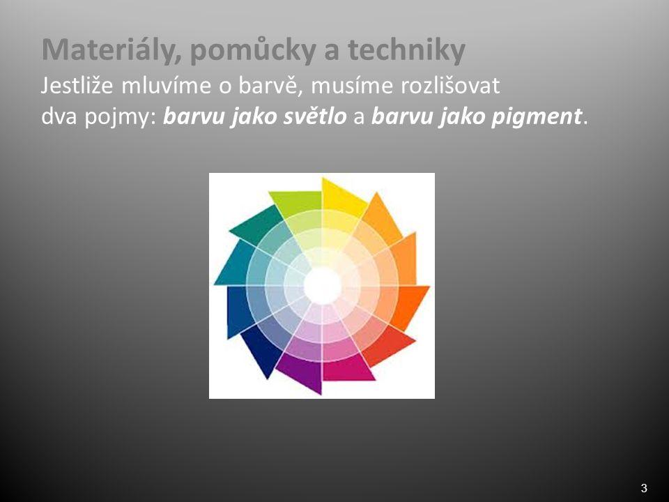 3 Materiály, pomůcky a techniky Jestliže mluvíme o barvě, musíme rozlišovat dva pojmy: barvu jako světlo a barvu jako pigment.