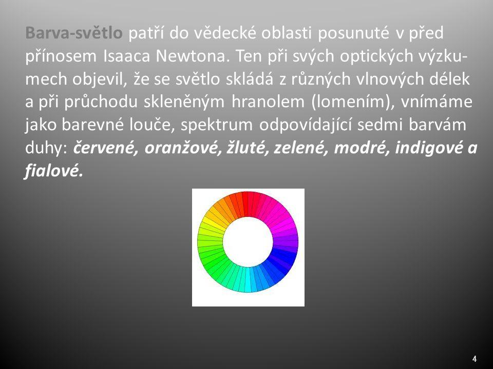 4 Barva-světlo patří do vědecké oblasti posunuté v před přínosem Isaaca Newtona.