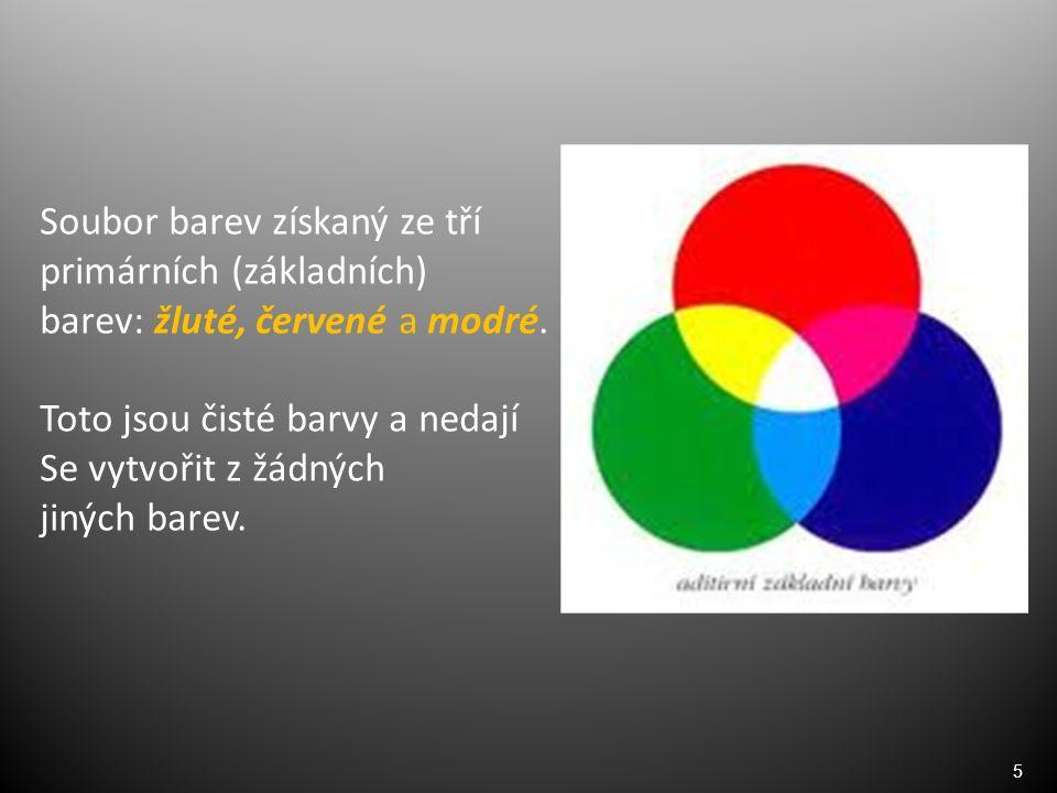 6 Vzájemným mícháním dvou základních barev vytvoříme sekundární (druhotné) barvy: žlutá + červená = oranžová červená + modrá = fialová modrá + žlutá = zelená