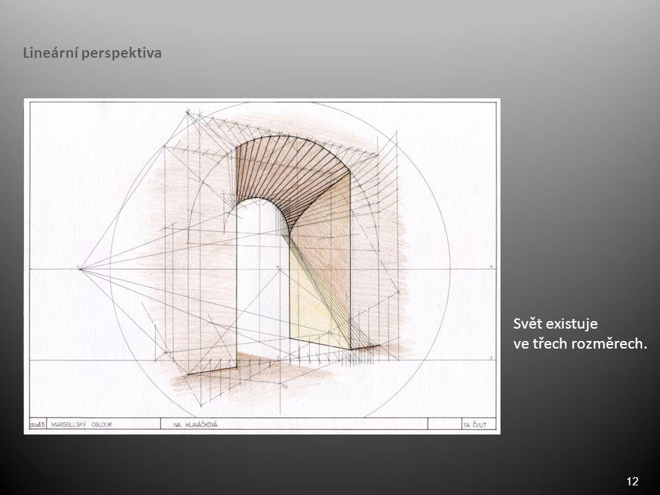 12 Lineární perspektiva Svět existuje ve třech rozměrech.