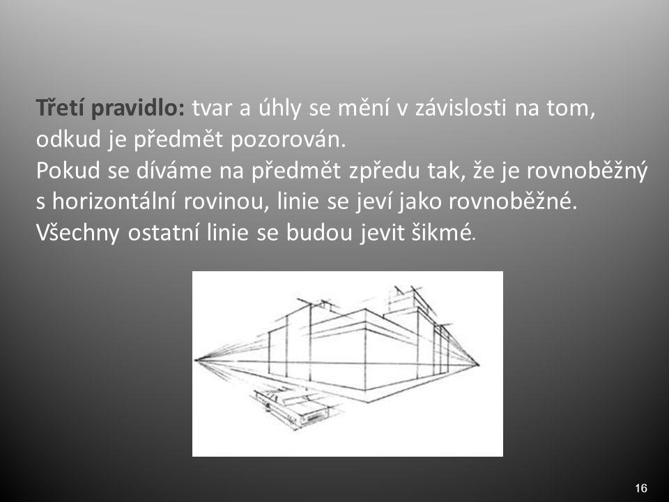 16 Třetí pravidlo: tvar a úhly se mění v závislosti na tom, odkud je předmět pozorován.