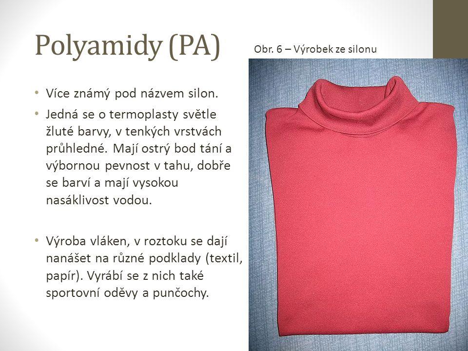 Polyamidy (PA) Více známý pod názvem silon.