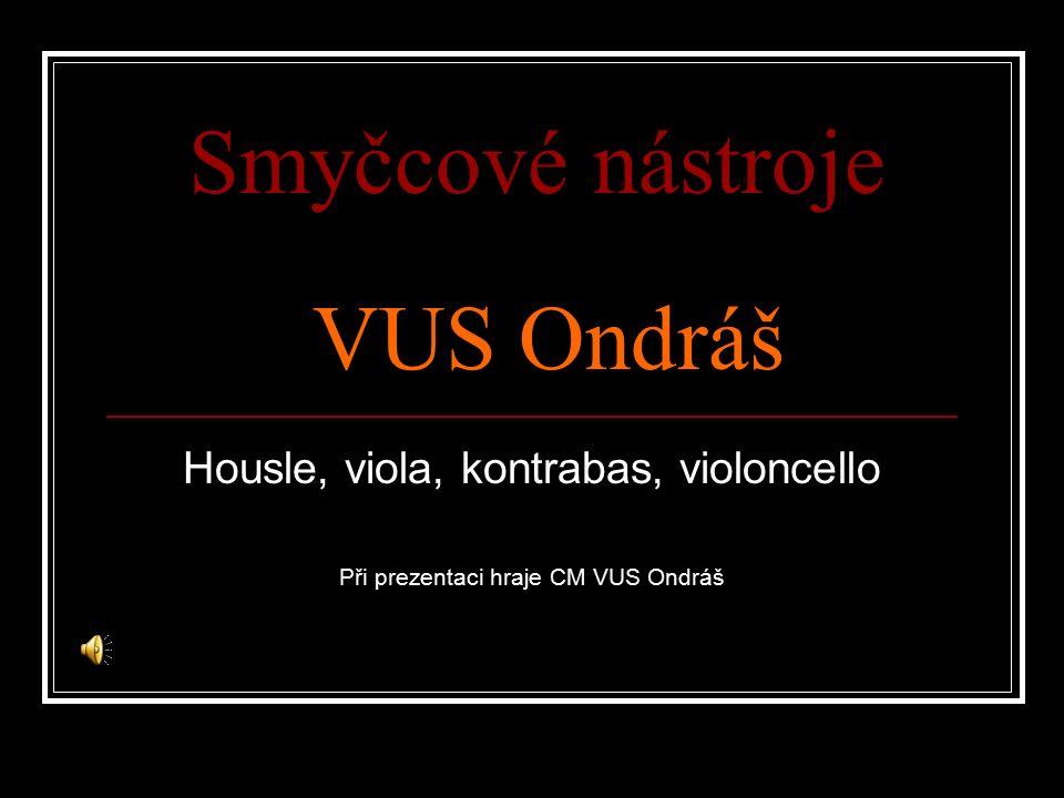 Smyčcové nástroje VUS Ondráš Housle, viola, kontrabas, violoncello Při prezentaci hraje CM VUS Ondráš