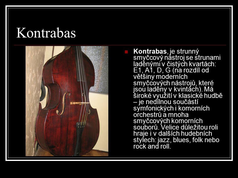 Kontrabas Kontrabas, je strunný smyčcový nástroj se strunami laděnými v čistých kvartách: E1, A1, D, G (na rozdíl od většiny moderních smyčcových nástrojů, které jsou laděny v kvintách).