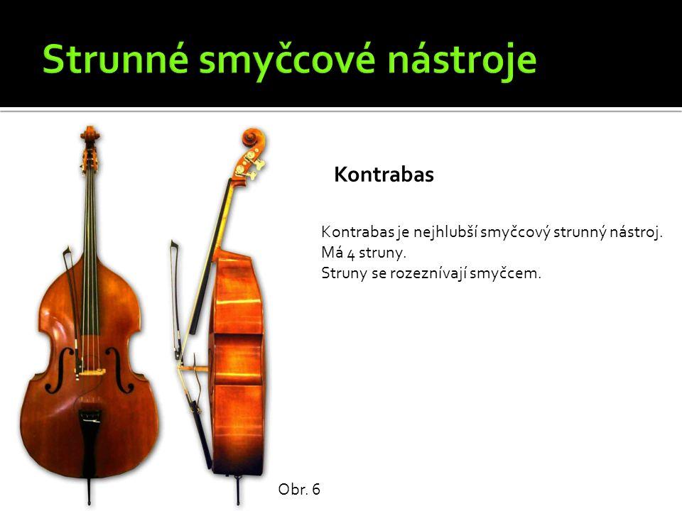 Kontrabas Obr. 6 Kontrabas je nejhlubší smyčcový strunný nástroj. Má 4 struny. Struny se rozeznívají smyčcem.