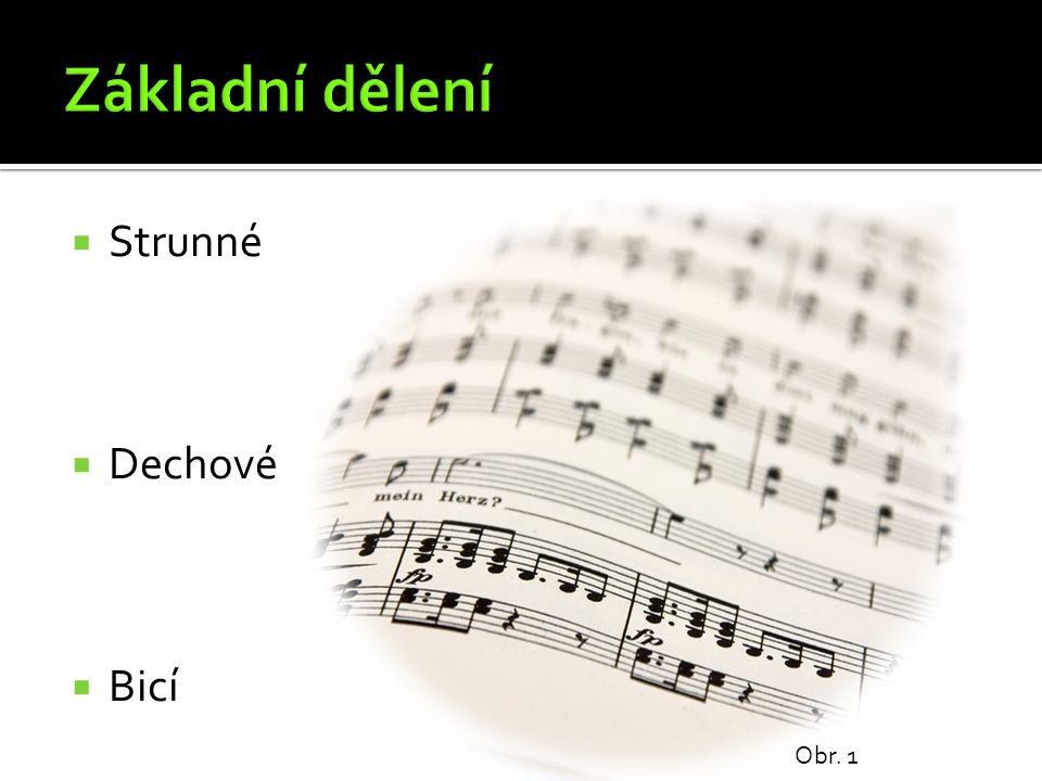 Kontrabas Obr. 6 Kontrabas je nejhlubší smyčcový strunný nástroj. Má 4 struny.