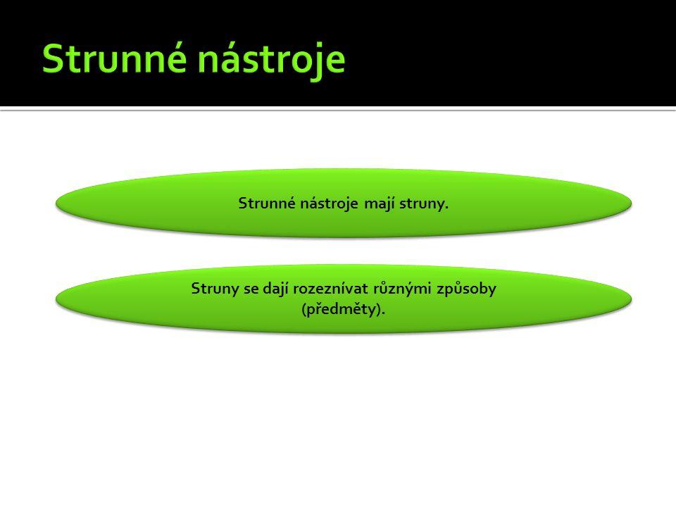Strunné nástroje mají struny.Struny se dají rozeznívat různými způsoby (předměty).
