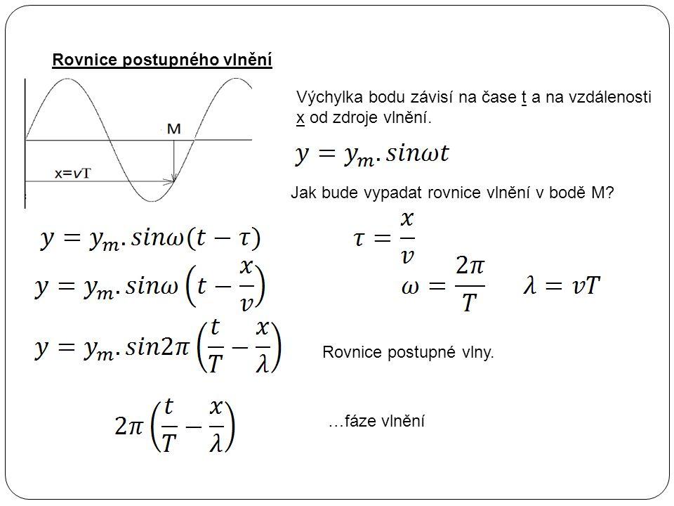 Rovnice postupného vlnění Výchylka bodu závisí na čase t a na vzdálenosti x od zdroje vlnění. Jak bude vypadat rovnice vlnění v bodě M? Rovnice postup