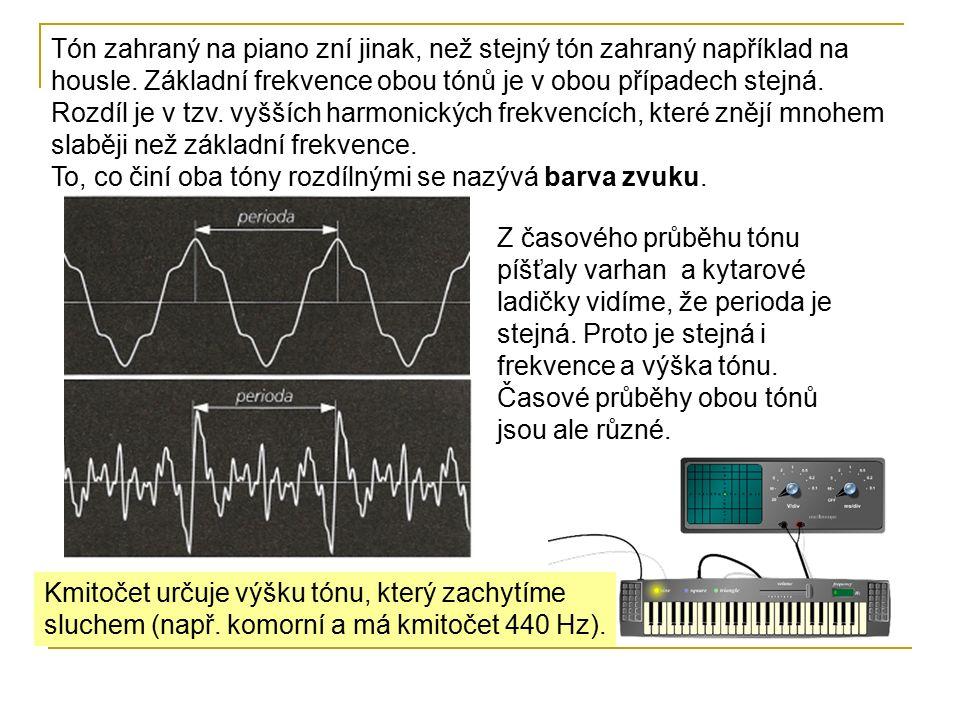 Kmitočet určuje výšku tónu, který zachytíme sluchem (např.