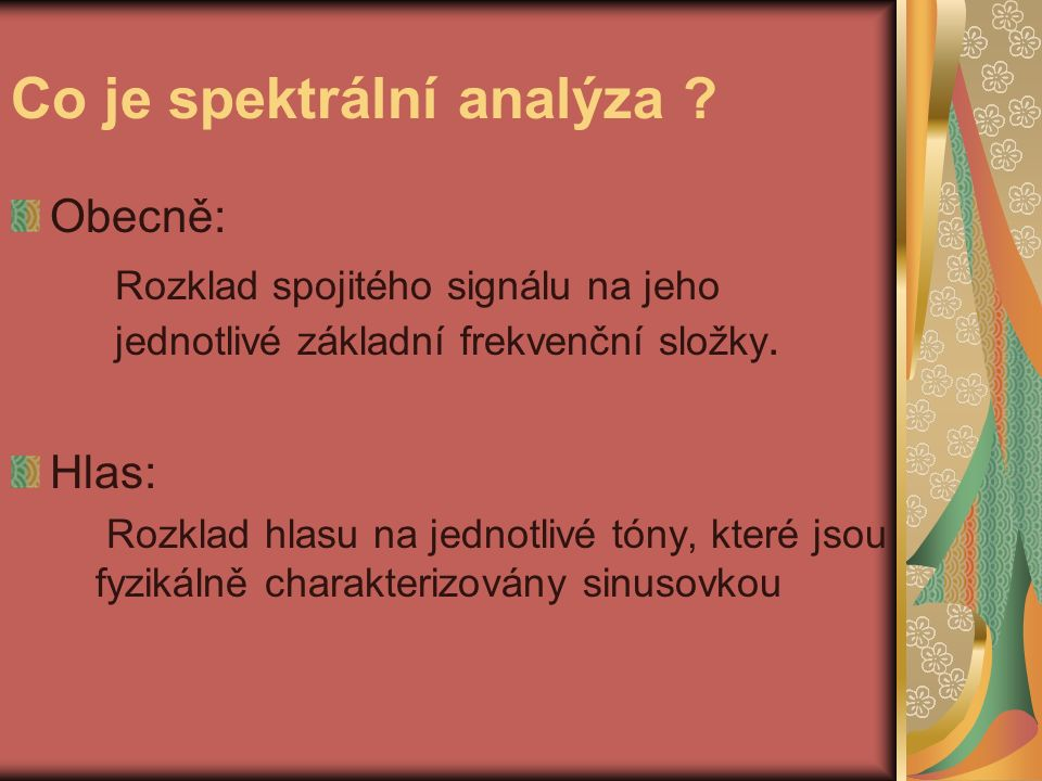 Co je spektrální analýza .