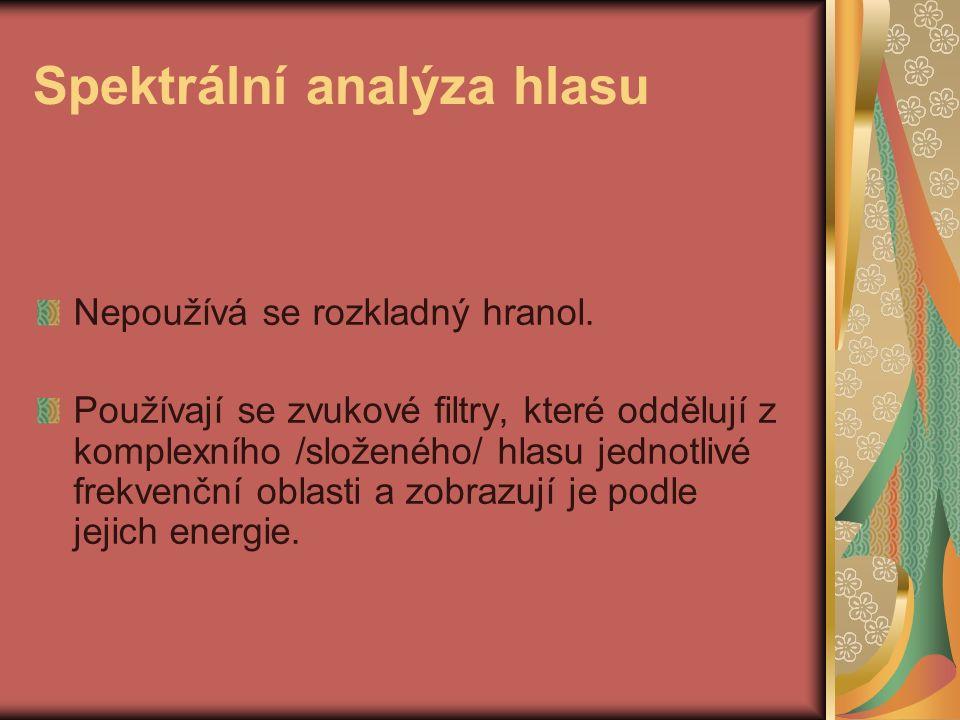 Spektrální analýza hlasu Nepoužívá se rozkladný hranol.