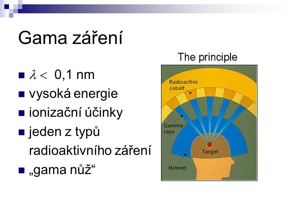 """Gama záření  0,1 nm vysoká energie ionizační účinky jeden z typů radioaktivního záření """"gama nůž"""""""