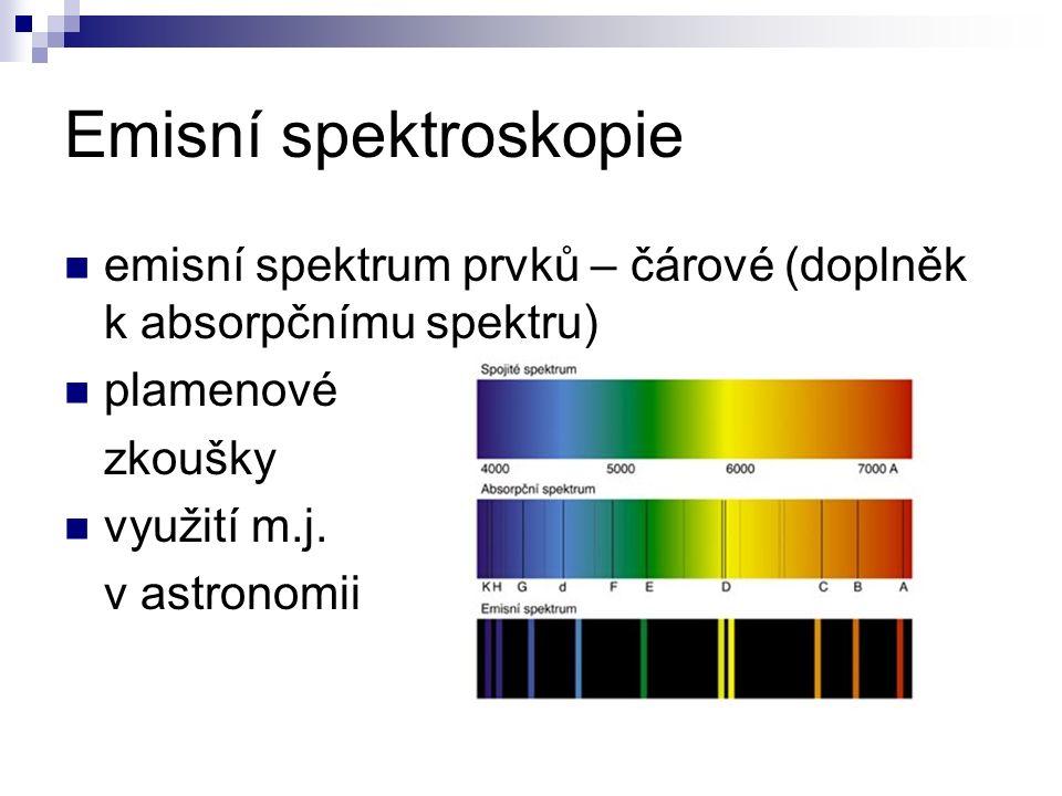 Emisní spektroskopie emisní spektrum prvků – čárové (doplněk k absorpčnímu spektru) plamenové zkoušky využití m.j. v astronomii