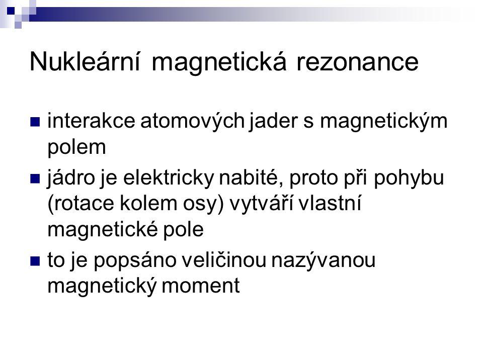 Nukleární magnetická rezonance interakce atomových jader s magnetickým polem jádro je elektricky nabité, proto při pohybu (rotace kolem osy) vytváří v