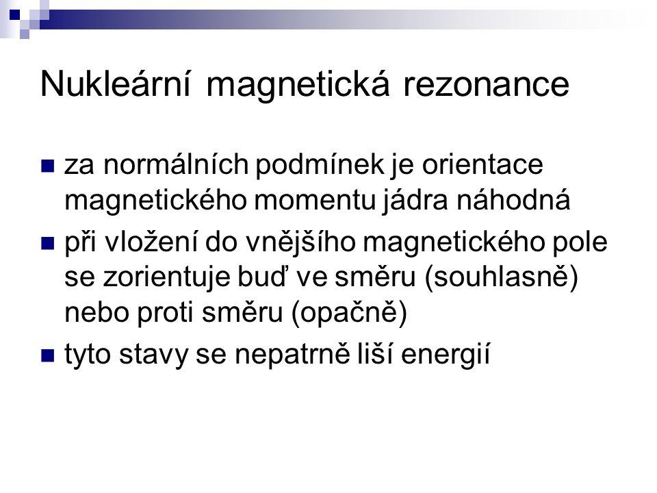 Nukleární magnetická rezonance za normálních podmínek je orientace magnetického momentu jádra náhodná při vložení do vnějšího magnetického pole se zor