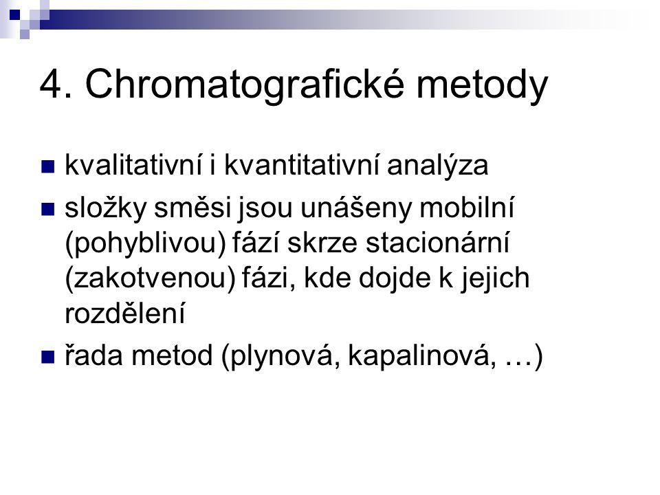 4. Chromatografické metody kvalitativní i kvantitativní analýza složky směsi jsou unášeny mobilní (pohyblivou) fází skrze stacionární (zakotvenou) fáz