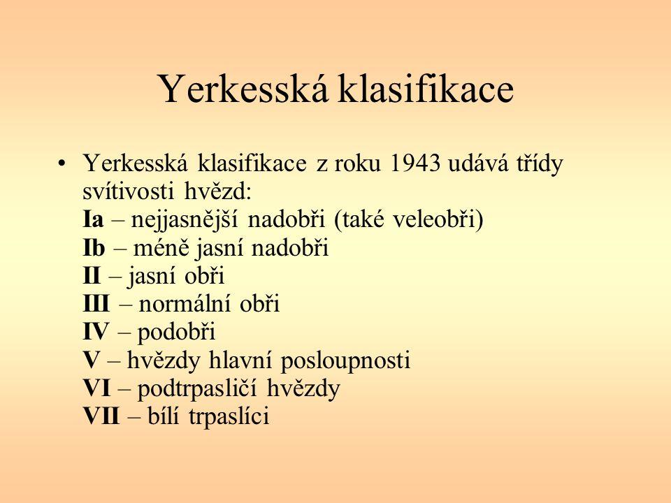 Yerkesská klasifikace Yerkesská klasifikace z roku 1943 udává třídy svítivosti hvězd: Ia – nejjasnější nadobři (také veleobři) Ib – méně jasní nadobři II – jasní obři III – normální obři IV – podobři V – hvězdy hlavní posloupnosti VI – podtrpasličí hvězdy VII – bílí trpaslíci