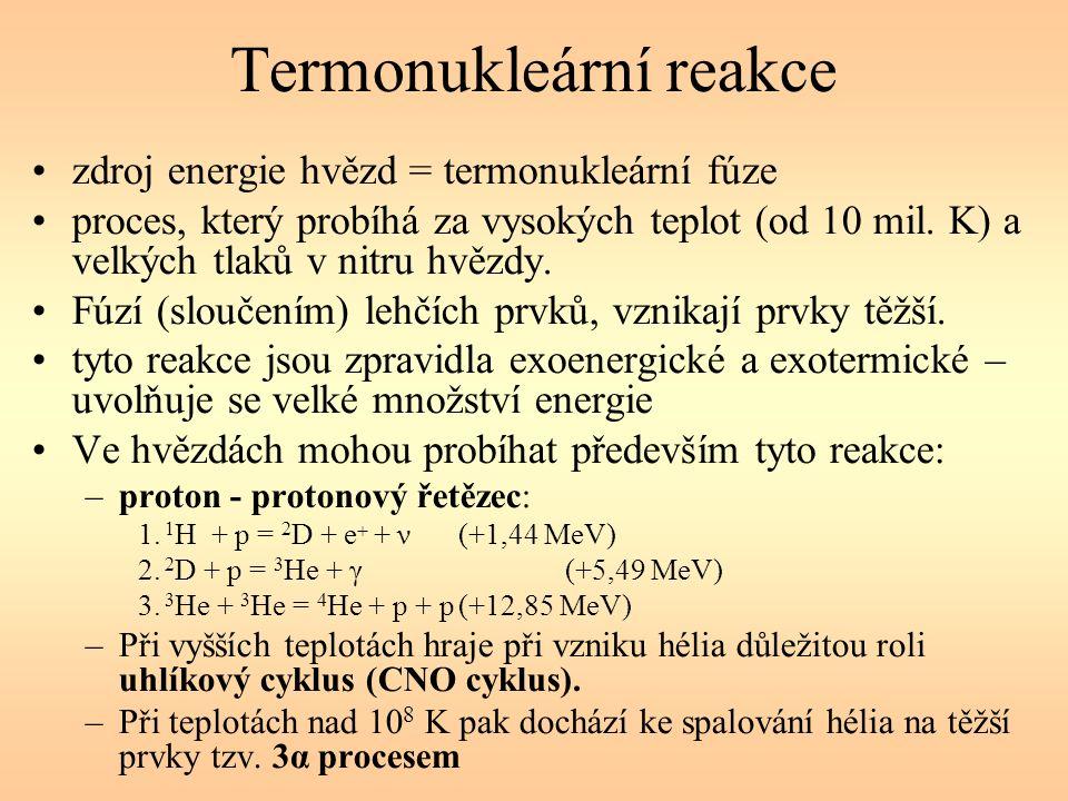 Termonukleární reakce zdroj energie hvězd = termonukleární fúze proces, který probíhá za vysokých teplot (od 10 mil.