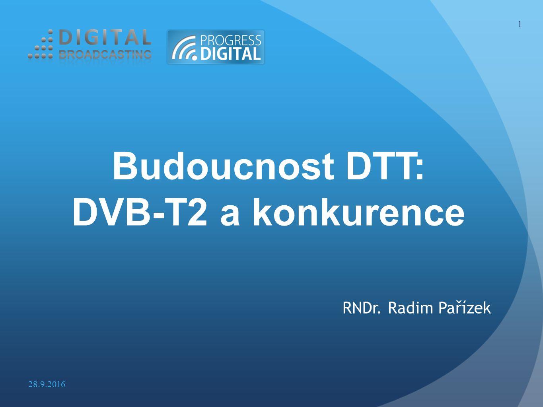 Zemské televizní vysílání-současnost DTT v ČR nejsilnější platforma > 60% domácností Pozice DTT bude obdobná 15 – 20 let Konkurencí na trhu služeb operátorů sítí vznik: MUX 1, 2, 3, 4 a RS 1-20 Konkurencí na trhu provozovatelů vysílání vznik: > 30 celoplošných a regionálních TV programů ČRa/Digital Broadcasting: 3/2 celoplošné DVB-T sítě Zachování konkurence ve stávajícím rozsahu 2